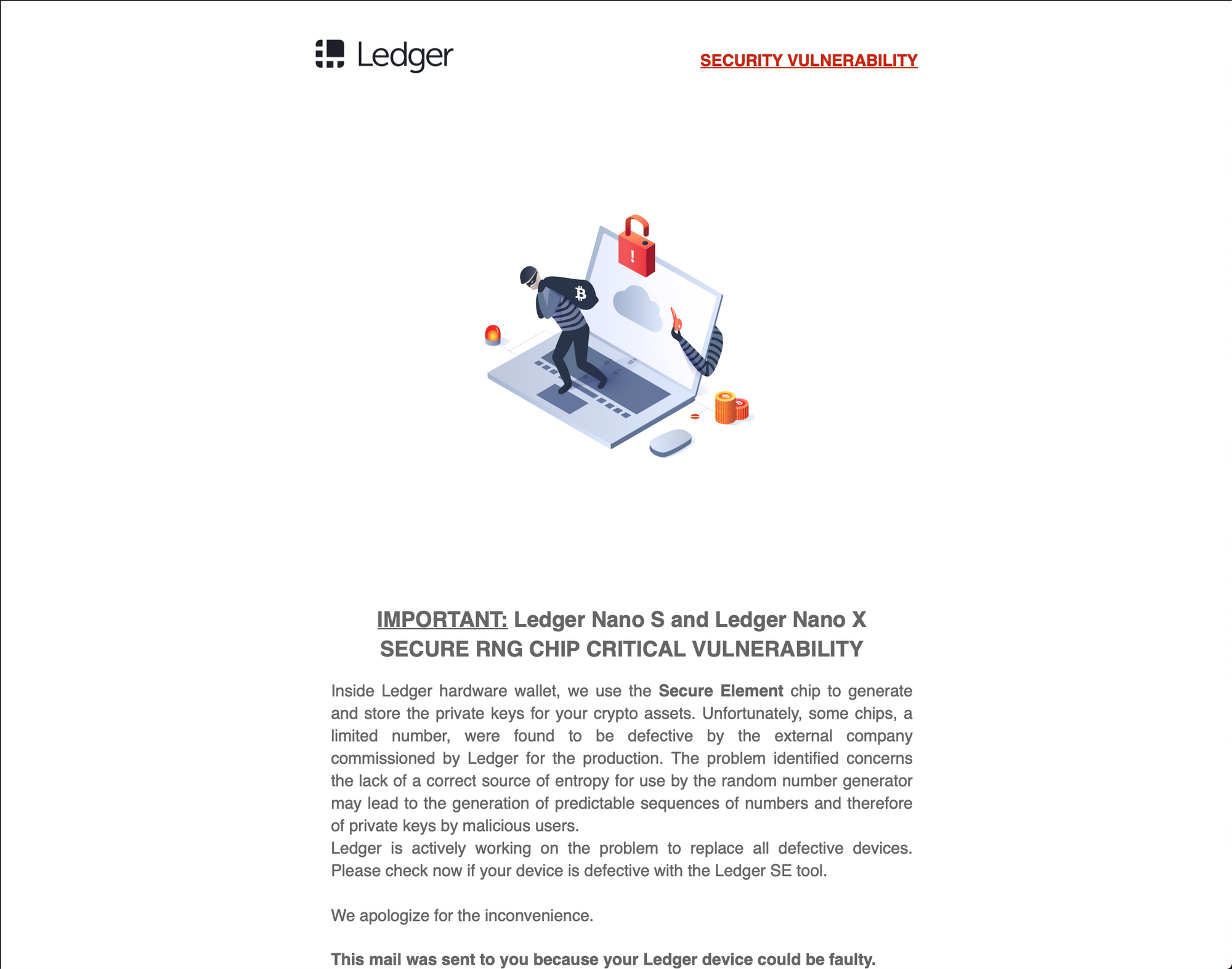 Beware of well executed Ledger phishing email
